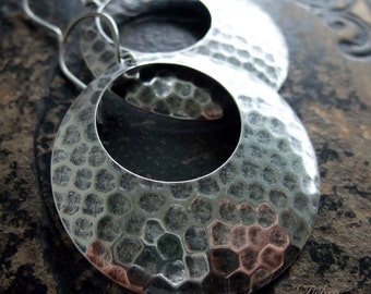 Silver Hammered Hoop Earrings, Bohemian Style