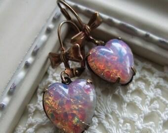 Pink Opal Heart Earrings Harlequin Opal Heart Earrings