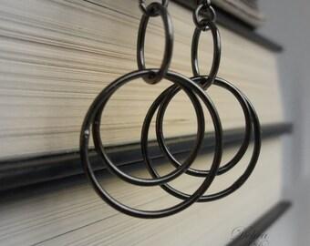 Black Hoop Earrings, Modern Black Hoop Earrings, Black Ring Earrings, Black, Steel, Graphite