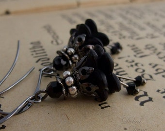 Black Earrings Black Flower Earrings Gothic Earrings Flower...Tiny flowers of the Night