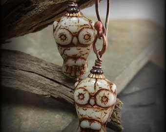 Owl Earrings, Tiny Hooters, Ivory, Copper Etching,  Mascot Kappa Kappa Gama Chi Omega, Graduation Gift