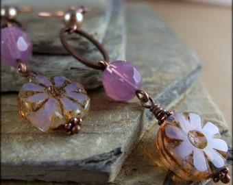 Pink Flower Earrings, Lavender Earrings, Gift for Gardener, Long Earrings, Leverback earrings, Clip on earrings