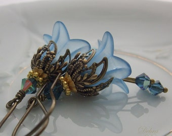Blue Flower Earrings, Lily Earrings, Gifts for Mothers,  Bridal Jewelry, Easter Jewelry, Prom Jewelry