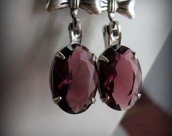 Garnet Earrings, Bridal Jewelry, Bridal earrings, Estate Style Jewelry, Bridesmaid earrings, Leverback
