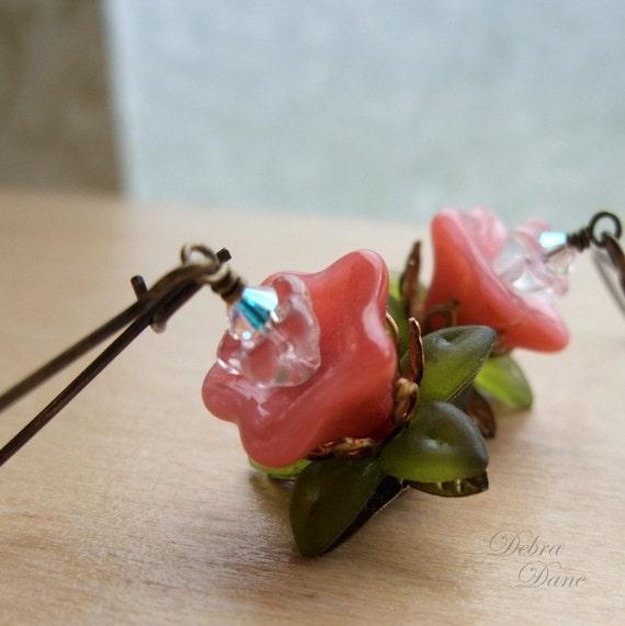 Pink Flower Earrings PInk Coral Earrings Glass Flower Earrings Pink Petunia Earrings
