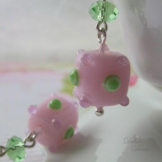 Pink Earrings, Pink and Green Earrings, Swarovski Crystal, Sputnik Earrings, Unique Baby Shower Gifts, Sterling Silver Earwires