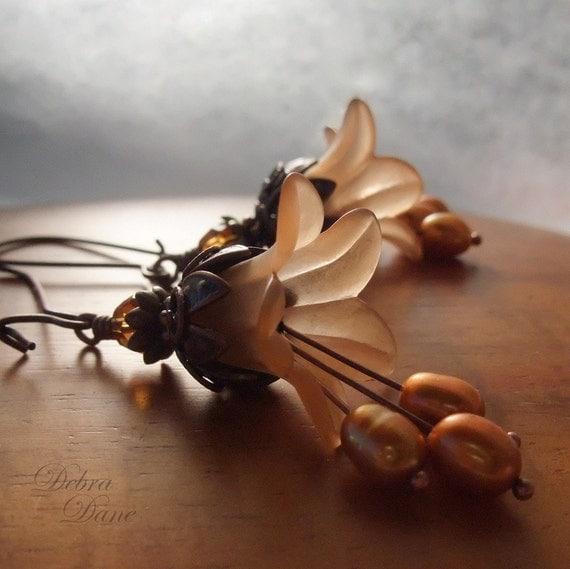 Copper Flower Earrings Pumpkin Pie Lily Earrings Copper Freshwater Pearls Earrings Fall Fashion