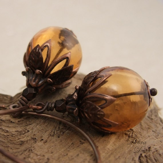 Amber Glass Earrings Blown Glass with Leafy Copper Accents