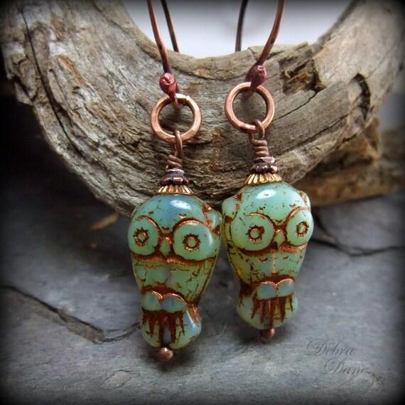 Owl earrings, jade green, copper,  Bird Earrings, Kappa Kappa Gamma Chi Omega, Owl Mascot, Graduation Gift
