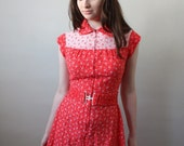 RESERVED. 1970's cherry blossom day dress