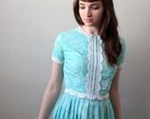 vintage 1960's robin's egg blue garden party dress