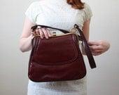 1970's mahogany leather satchel