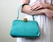 vintage 1950's teal box purse