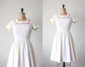 1950s dress - white embroidered party dress