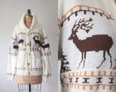 vintage 1970's deer print slouchy cardigan