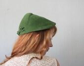 1950s cloche - forest green hunters cap