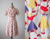 1940's dress - cabana girls two-piece dress
