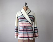 RESERVED. wrap sweater - 1970's pink wrap cardigan