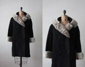 1950s coat - vintage 1950's black boucle fur trimmed jacket