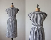 1970's black and white striped day dress