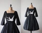 bird dress - 1950's black lace bird dress