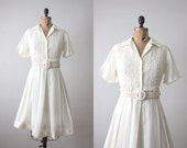 1950s dress - vintage 1950's cream embroidered shirtdress
