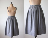 1970's skirt - gray wool flared skirt