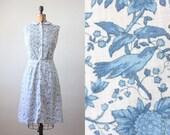 bird dress - vintage 1960's bird print party dress