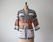 wrap sweater - 1970's striped wrap cardigan