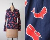 vintage whale blouse