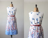 RESERVED  nautical dress - 1960's bird and sailboat dress