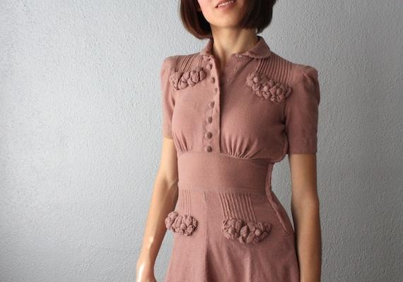 RESERVED. vintage 1940's pale mauve day dress