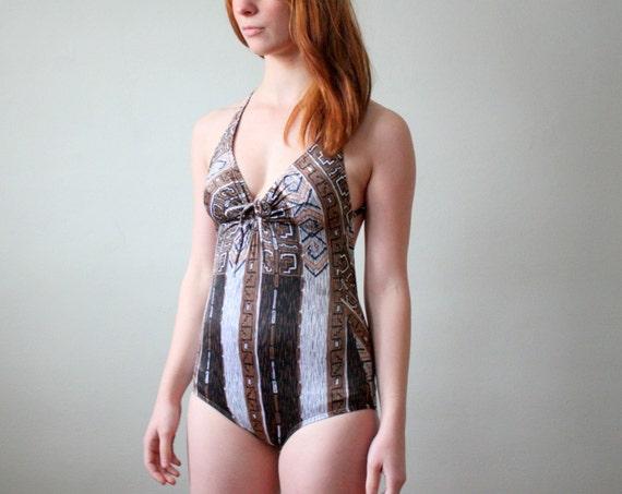 vintage 1970's copper folk print swimsuit