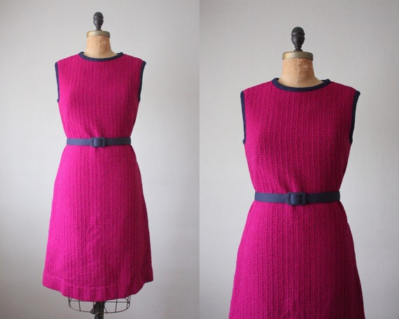 1960's plum shift dress