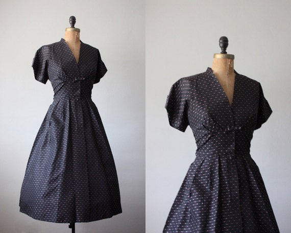 vintage 1940's black bow party dress