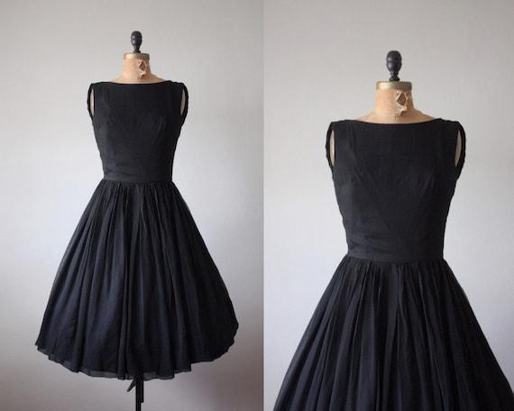 1950's dress - vintage black chiffon party dress