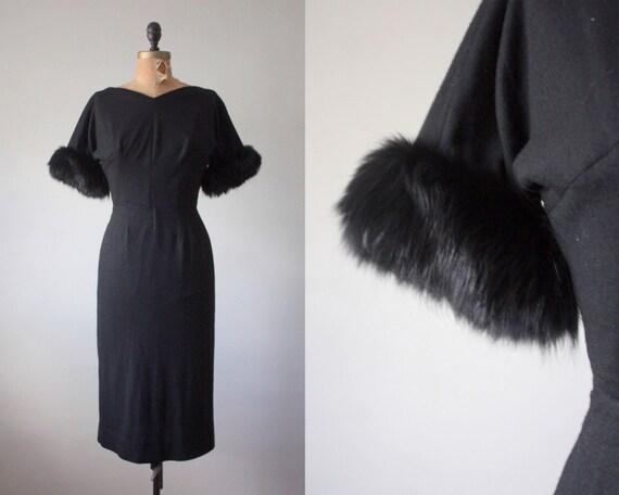 black dress - vintage 1950's black fur trimmed wiggle dress