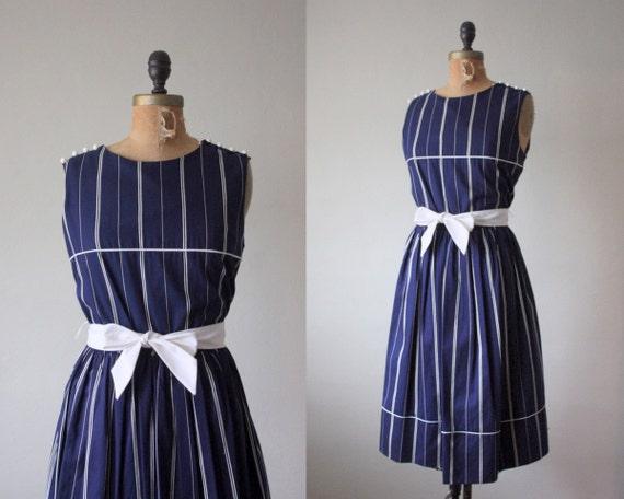 1970's dress - navy stripe nautical day dress