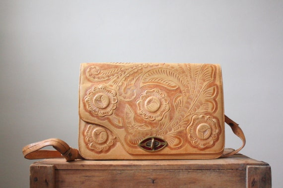 tooled leather bag - 1960's aztec tooled leather handbag