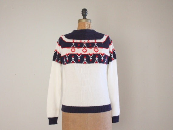 fair isle sweater - 1960's ski lodge knit pullover