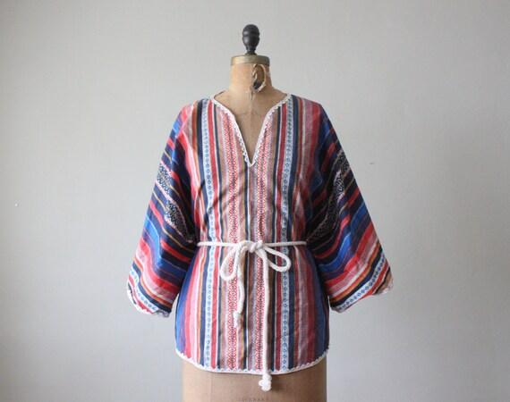 vintage 1960's tribal print blouse