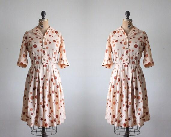 RESERVED. 1950s dress - vintage 1950's silk polka dot dress