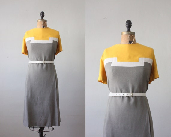 vintage 1960's geometric mustard linen dress