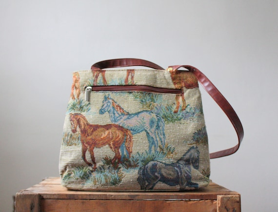 vintage horse tapestry purse