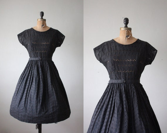 1950s dress - black eyelet party dress