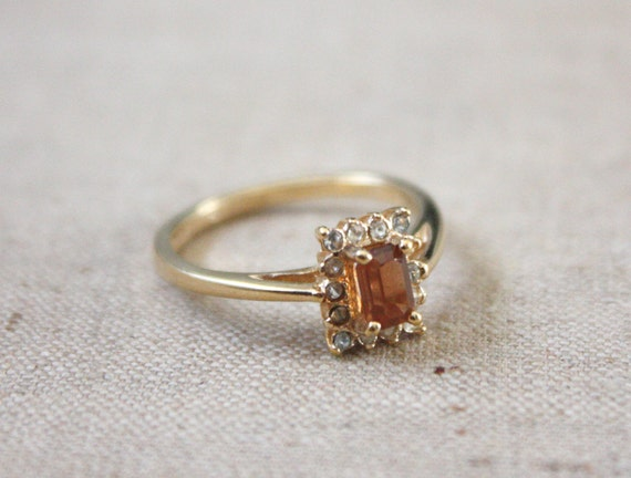 citrine and rhinestone ring