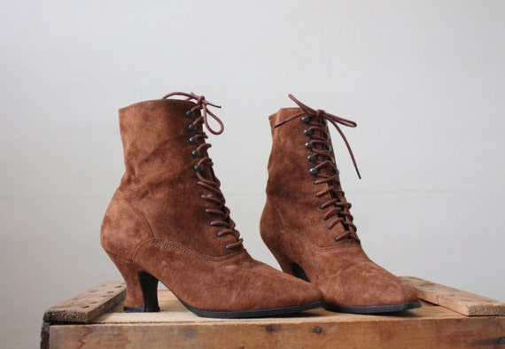 vintage lace-up ankle boots - brown leather pixie boots size 7