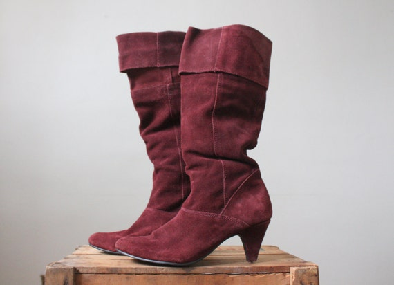 suede boots - knee high boots - oxblood suede boots size 9