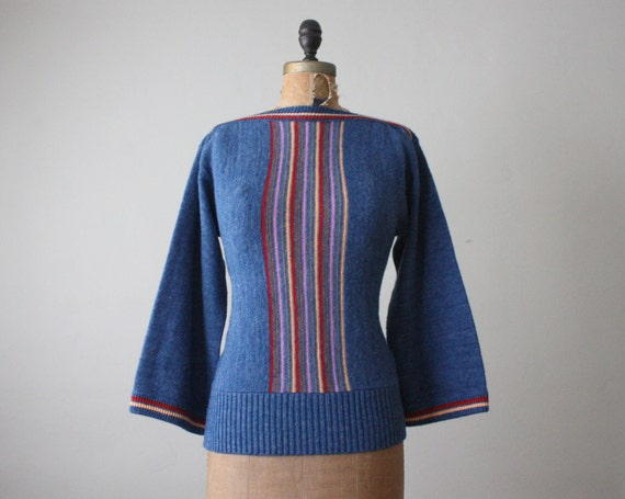 vintage 1970's boho stripe sweater