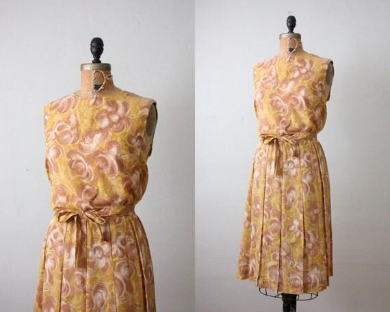 1950s dress - vintage 1950's mustard day dress